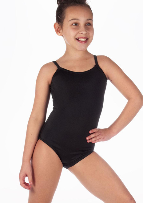 Alegra Girls Shiny Cleo Leotard Black front. [Black]