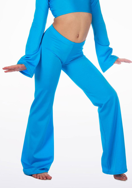 Alegra Girls Shiny Jazz Pant Blue front. [Blue]
