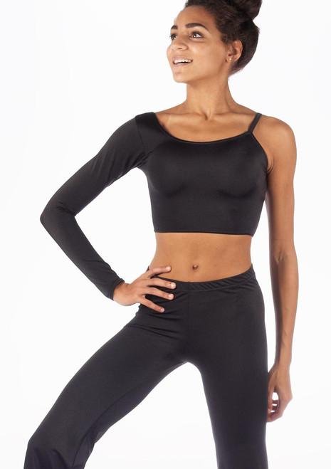 Alegra Shiny Echo Dance Top Black front. [Black]