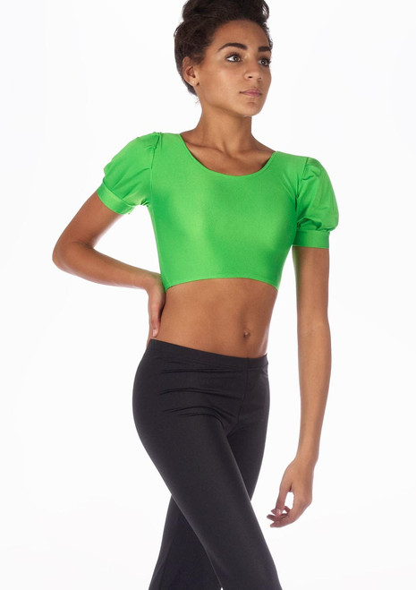 Alegra Shiny Patsy Dance Top Green front. [Green]