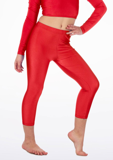 Alegra Girls Shiny Crop Leggings Red front. [Red]