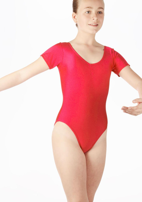 Alegra Girls Shiny Melody Leotard Red front. [Red]
