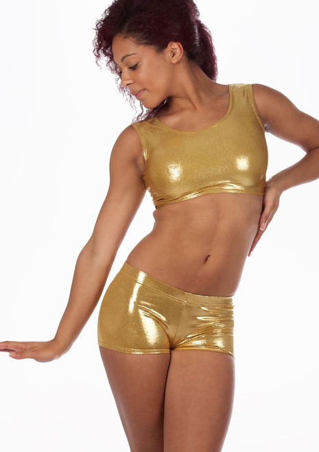 Alegra Metallic Betty Dance Crop Top Gold front. [Gold]