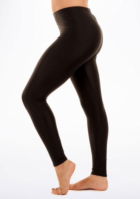 Alegra Shiny Footless Leggings Black side. [Black]