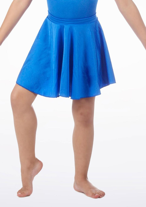 Alegra Girls Shiny Circle Dance Skirt Blue front. [Blue]