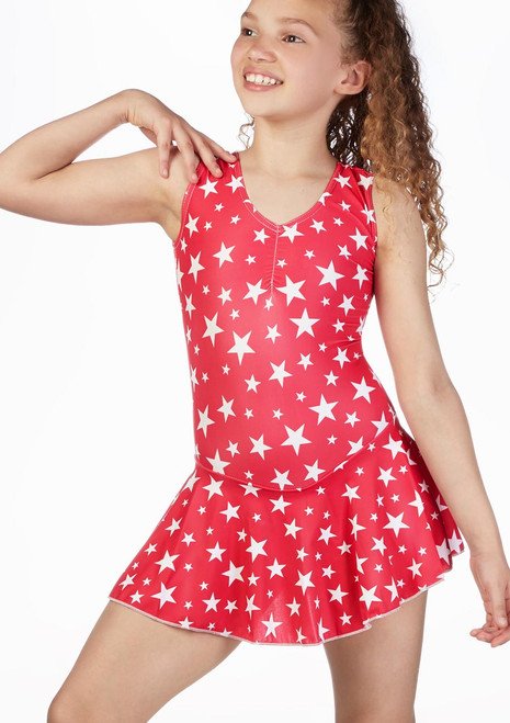 Alegra Girls Patterned Skirted Minnie Leotard front. [Patterned]
