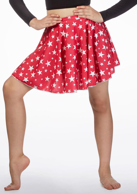 Alegra Girls Patterned Circle Dance Skirt front. [Patterned]