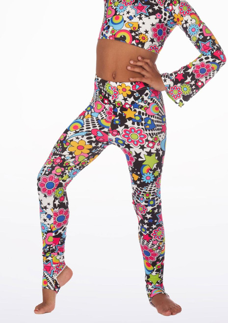 Alegra Girls Patterned Stirrup Leggings front.