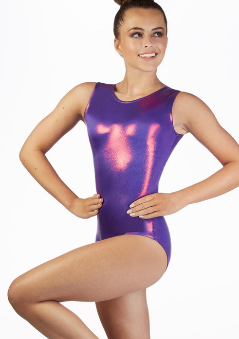 Alegra Girls Zoella Sleeveless Gymnastics Leotard Purple front. [Purple]