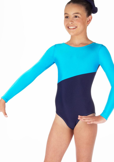 Alegra Girls Brianna Long Sleeve Gymnastics Leotard Blue. [Blue]