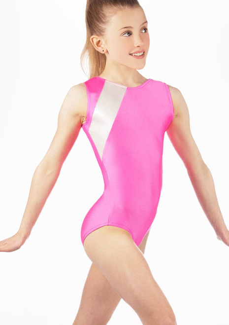 Alegra Girls Anthem Sleeveless Gymnastics Leotard Blue front. [Blue]