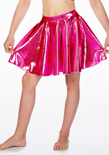 Alegra Girls Metallic Circle Dance Skirt Blue front. [Blue]