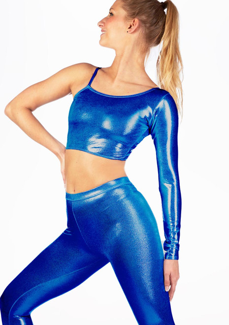 Alegra Metallic Echo Dance Top Blue front. [Blue]