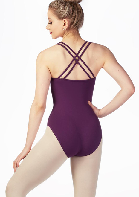 Move Andrea Cross Back Leotard Blue back. [Blue]