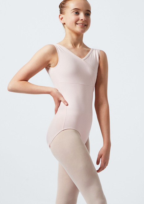 Move Patty Tank Leotard Pink front. [Pink]