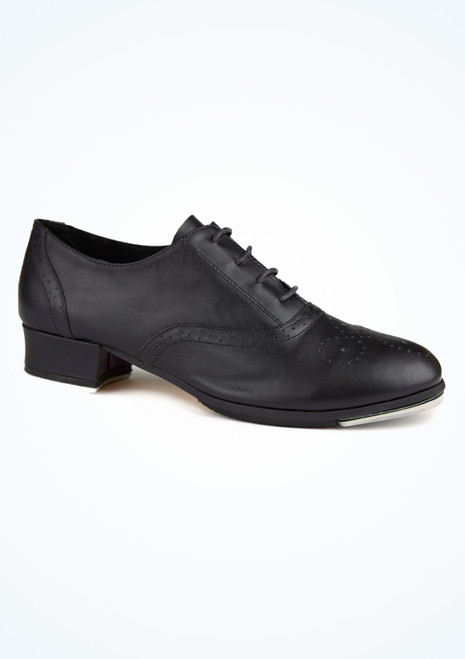 Move Leather Lace Up Full Sole Tap Shoe Black. [Black]
