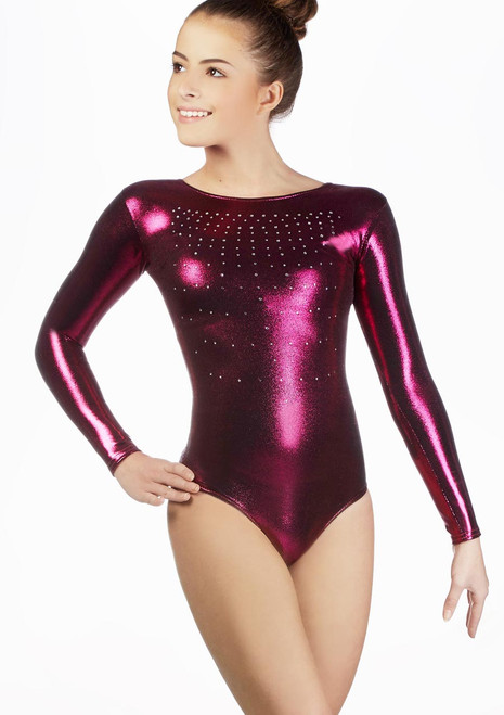 Alegra Girls Elipse Long Sleeve Gymnastics Leotard Black front. [Black]