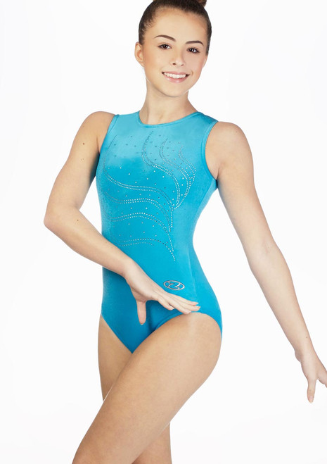 Zone Tiara Girls Sleeveless Gymnastics Leotard Blue. [Blue]