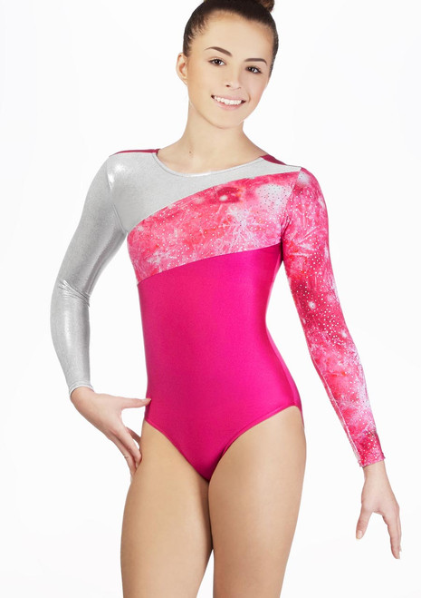 Alegra Girls Flare Long Sleeve Gymnastics Leotard Pink front. [Pink]