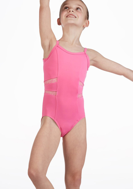 So Danca Girls Lace Panel Camisole Leotard Pink front. [Pink]