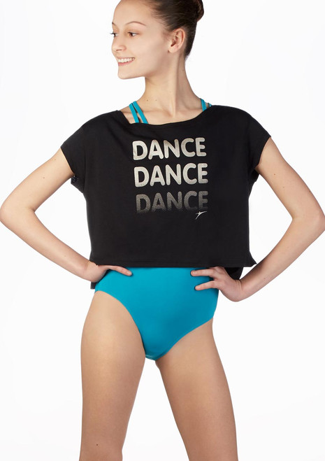 So Danca Kids Slice Dance T Shirt Black front. [Black]