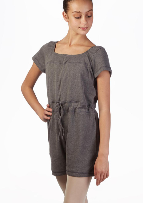 Ballet Rosa Teen Romper Warm Up Suit Grey front. [Grey]