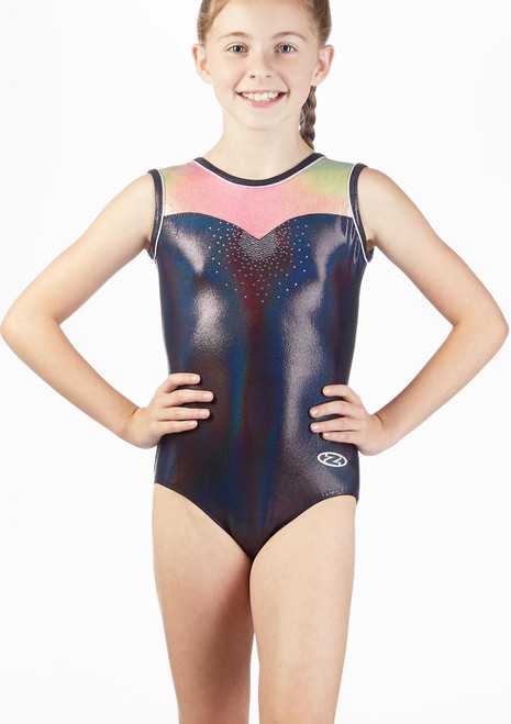 The Zone Opal Tank Sleeve Gymnastics Leotard Black front. [Black]
