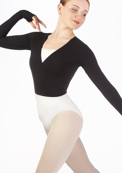 Move Ballet Wrap with Thumb Loop Black front. [Black]