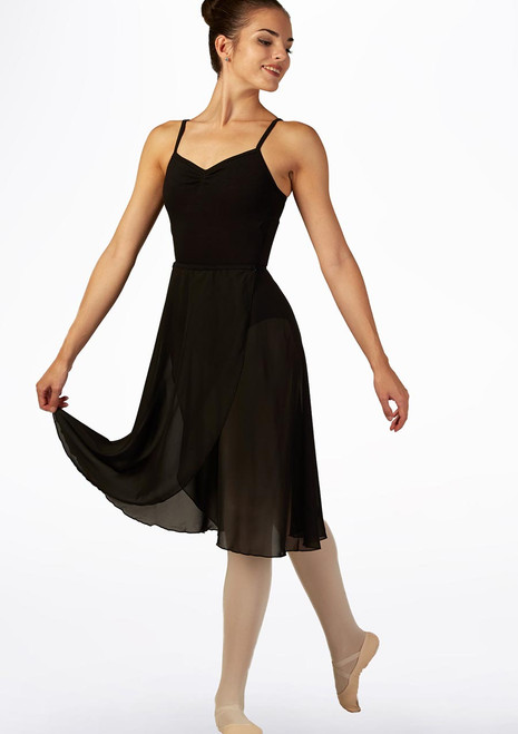 Move Long Ballet Wrap Skirt Black front. [Black]