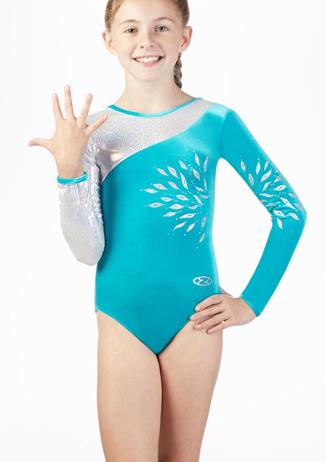 The Zone Eclipse Long Sleeve Gymnastics Leotard Green front. [Green]