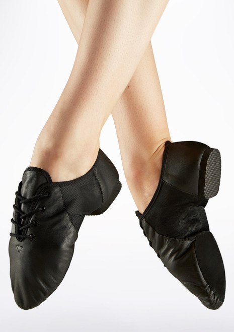 Move Leather Split Sole Jazz Shoe Black main image. [Black]