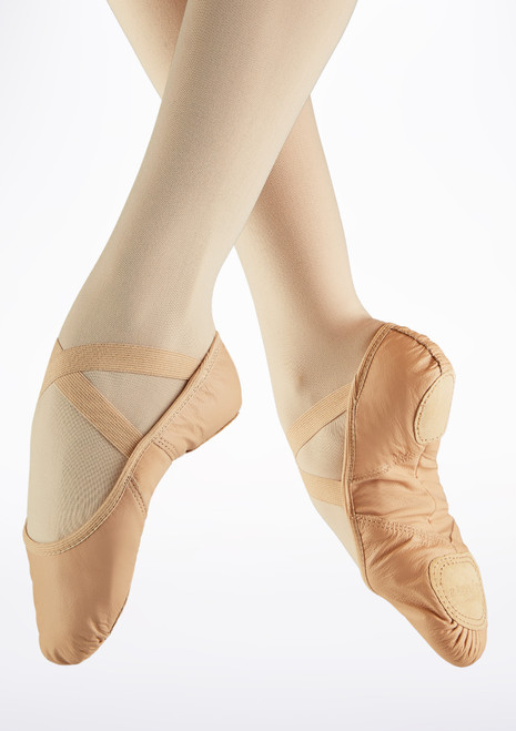 So Danca Superpro Leather Split Sole Ballet Shoe Pink front. [Pink]