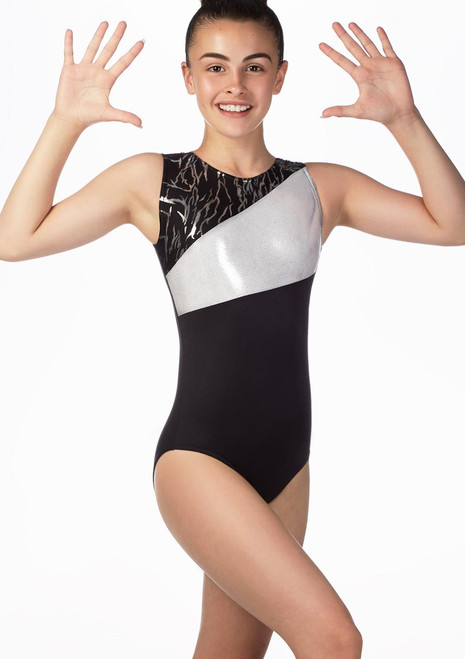 Alegra Girls Tempest Gymnastics Leotard Black front. [Black]