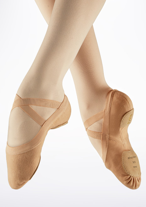 Bloch Synchrony Split Sole Canvas Ballet Shoe Pink front. [Pink]