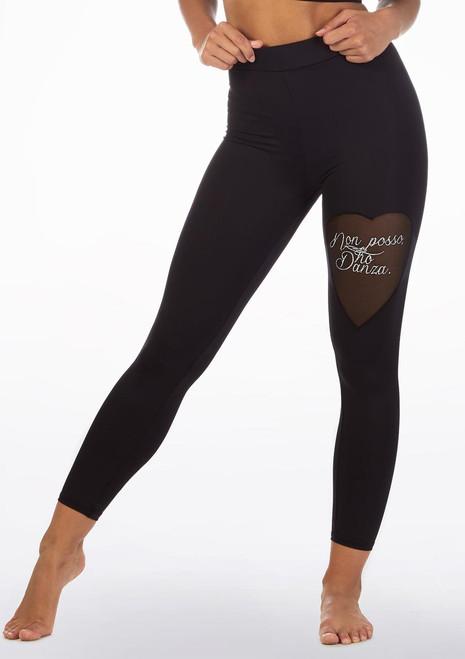 Non Posso Ho Danza Heart Mesh Leggings Black front. [Black]