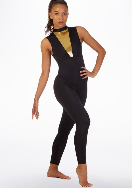 Alegra Fuse Sleeveless Catsuit Black-Gold front. [Black-Gold]