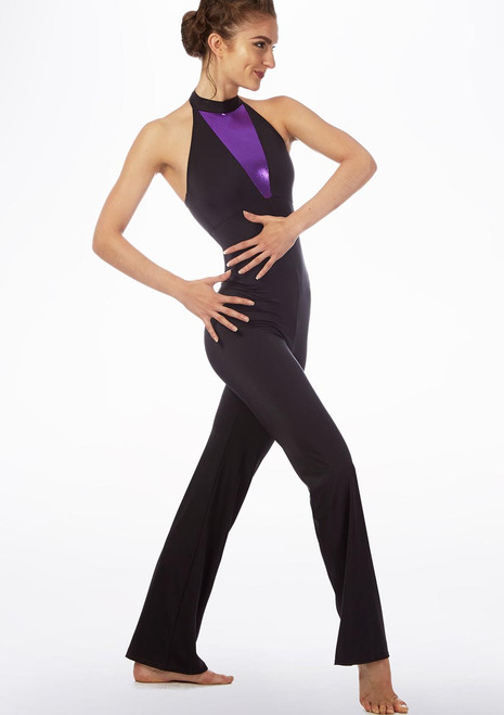 Alegra Fuse Bootleg Catsuit Black-Purple front. [Black-Purple]