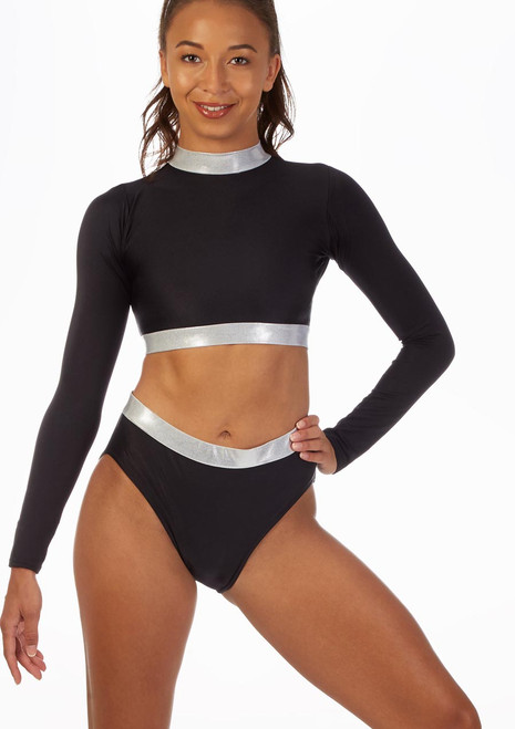 Alegra Fuse Long Sleeve Crop Top Blue front. [Blue]