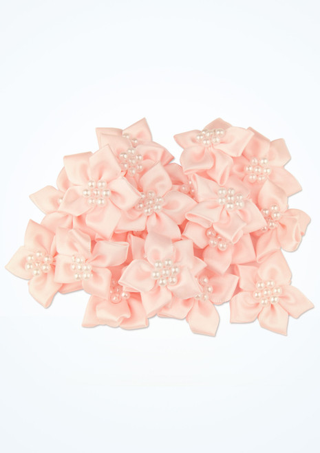 Sew-on Flowers with Pearl Beads 20 Pieces Pink front. [Pink]