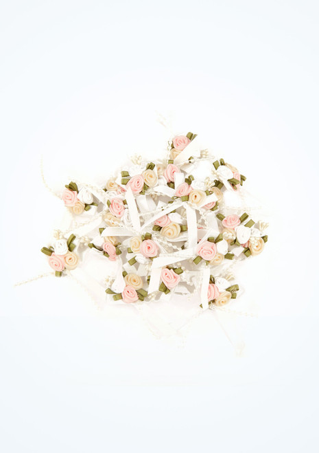 Satin Rose Bow Cluster 20 Pieces White main image. [White]