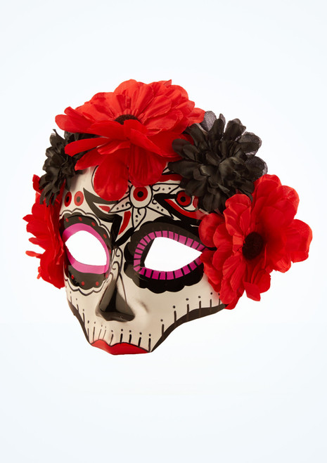 Day Of The Dead Flower Mask Multi-Colour front. [Multi-Colour]