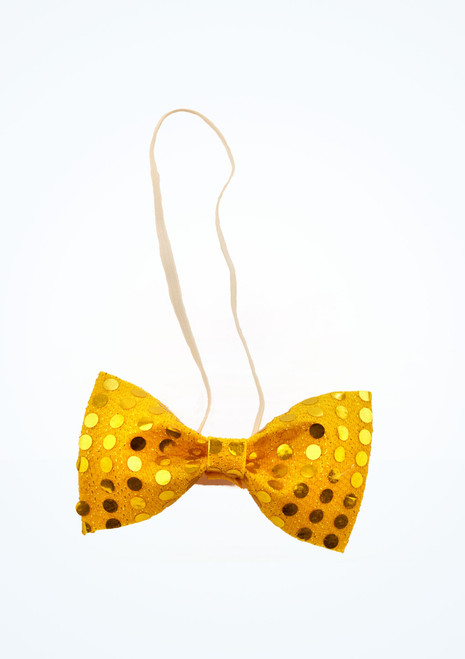 Sequined Bow Tie Gold front. [Gold]