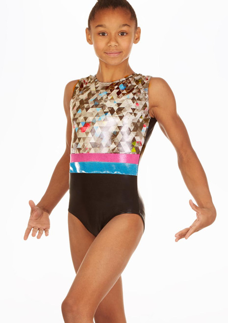 Alegra Pixel Pop Sleeveless Gymnastics Leotard Grey front. [Grey]
