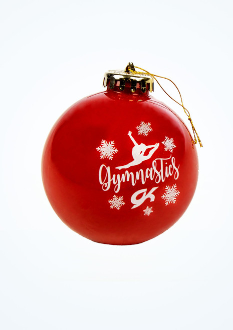 GK Elite Gymnastics Bauble Red front. [Red]