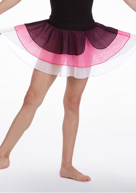 So Danca Triple Layered Dance Skirt Black-Pink front. [Black-Pink]