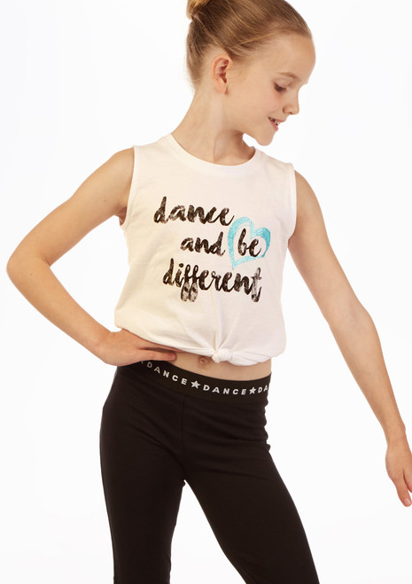 Move Dance Tank Sleeve 'Be Different' Top White front. [White]