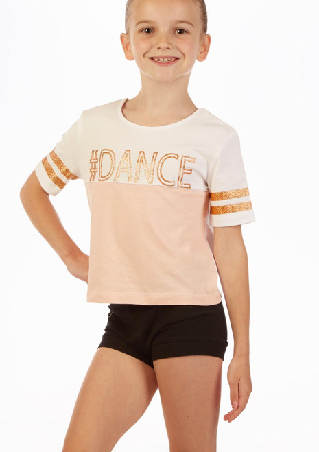 Move Dance Hashtag T-Shirt Pink front. [Pink]