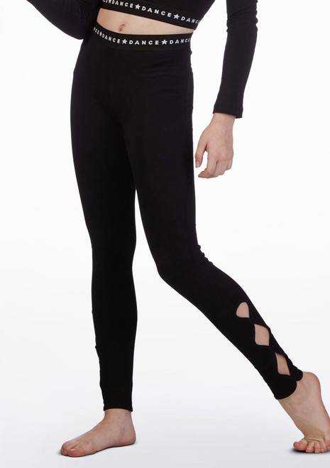 Move Dance Ankle Loop Leggings Black front. [Black]