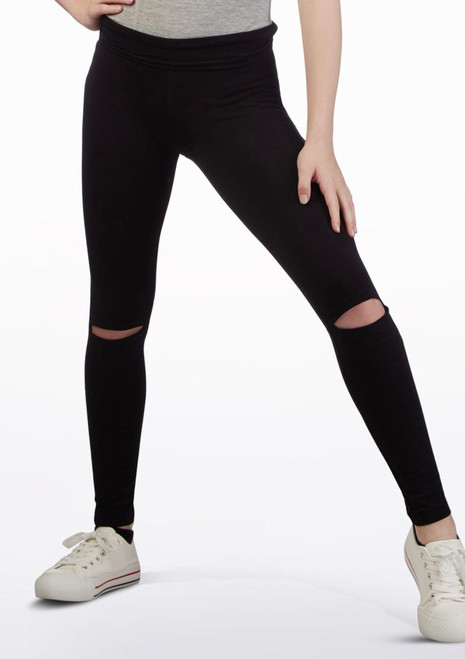 Move Dance Open Knee Leggings Black front. [Black]