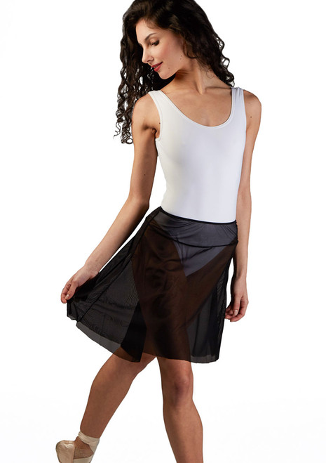 Ballet Rosa Pull On Mesh Dance Skirt Black front. [Black]